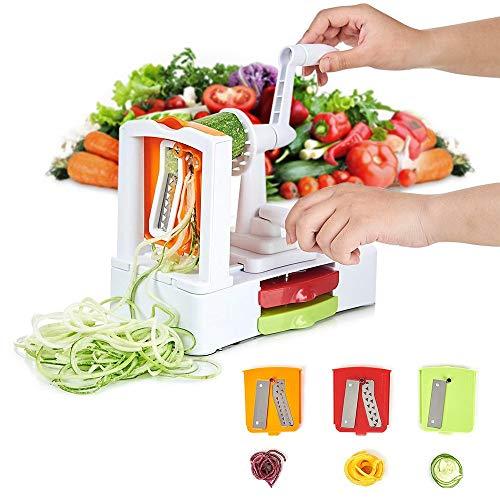 Image of HOMMINI Spiralizer mit 3-Schneideaufsätzen Gemüseschneider Premium Spiralschneider Heavy-Duty Veggie Pasta & Spaghetti Maker für Low Carb/Blass/Glutenfreie Mahlzeiten
