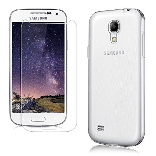 kwmobile 2in1 Set: Crystal Case Hülle + Panzerglas Displayschutzfolie für Samsung Galaxy S4 Mini aus TPU Silikon - Transparente Schutzhülle Cover Klar in Transparent