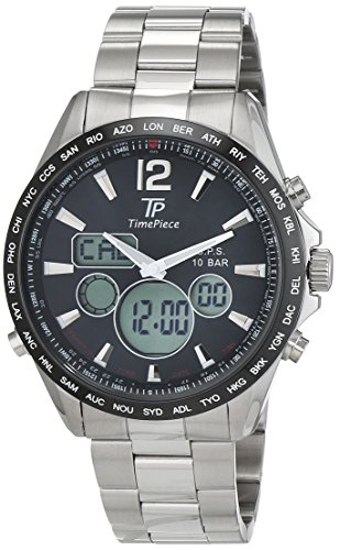Time Piece Herren-Armbanduhr GPS Chronograph World Timer Analog - Digital Quarz Edelstahl TPGS-10573-21M