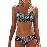 SAFASHION Femme Maillot de Bain 2 Pcs Elegant Florale Boho Bikini Bresilien Push-up Bande Crosse (L, Vert2)