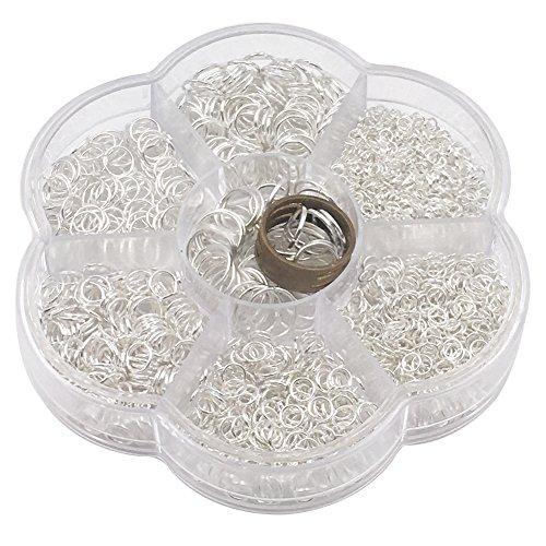 Ucatcher Anneaux Ouverts avec Boîte Transparente et Outil de Création de Bijoux pour la Confection de Bijoux, 7 Tailles Assorties 3 4 5 6 7 8 10mm