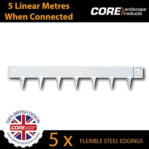 Core Edge - Bordure de jardin en acier souple, 5 par lot, couvre 5 mètres linéaires lorsqu'elles sont assemblées Différentes couleurs - 65 mm façade, 85 mm pic.