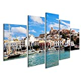 Bild Bilder auf Leinwand Panorama von Ibiza Altstadt -