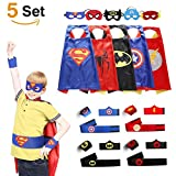 Comics Cartoon Superhelden Kostüme für Kinder, 5er Set Capes und Masken, Kinderspielzeug für Weihnachte Spielsachen für Jungen und Mädchen Karneval Fasching Cosplay Costume