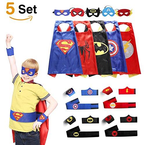 helden Kostüme für Kinder, 5er Set Capes und Masken, Kinderspielzeug für Weihnachte Spielsachen für Jungen und Mädchen Karneval Fasching Cosplay Costume (Cartoon Kostüme)