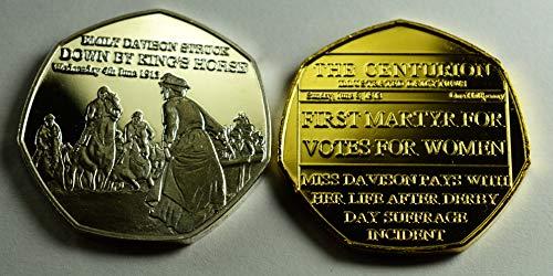 Suffraget Emily Davison Gedenkmünzen aus Silber und 24 Karat Gold zum 20. Jahrhundert The Centurion Serie Alben / 50p Münzen Jagd Sammler Epsom Derby 1913 Stimmen für Frauen - Gold Serie 20