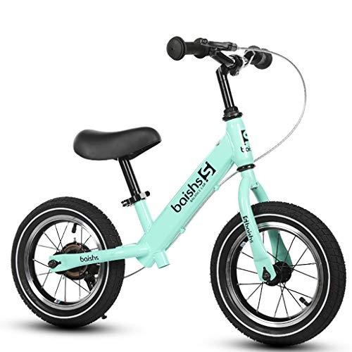 TCBIKE Lightweight Zu fuß Fahrrad, Aluminium robust Sport Balance Fahrrad Luft-Reifen gleiten Bremse Kinderlaufrad Alter 1 reiten Lernen,2,3-grün -