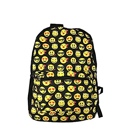 8888mall®QQ Smile Face Emoticon Printing Women's Travel Backpack Shoulder School Book Bag Rucksack School Bag Yellow Round Design Emoticon Travel Backpack Shoulder School Book Bag