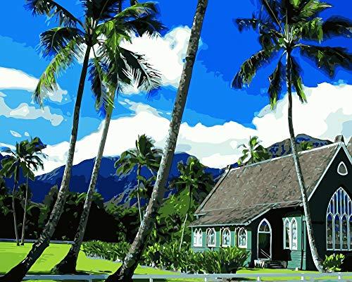 ZYCD Unterstützung Benutzerdefinierte Hawaii Kirchen Kauai DIY Malen nach Zahlen auf Leinwand für Wohnkultur 40cmx50cm Rahmenlos (Eigenen Hawaii-dekorationen Machen Sie Ihre)