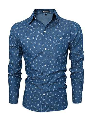 allegra-k-homme-manches-longues-ancre-slim-fit-jean-chemise
