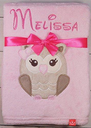 ★ Babydecke mit Namen und Datum bestickt ★ Baby Geschenke ★ Geburt ★ (Rosa - Eule)