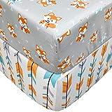 TEALP Spannbettlaken für Babybett Kinderbett - 60x120 bis 70x140 cm, 100% Baumwolle (2er Set), Fuchs
