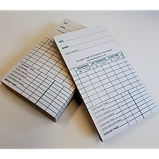 ADT Clock Cards. Standard Size W85mm x H140mm - Weekly Clock Card. Clock Cards suitable for lots of different clock card machines. (375)