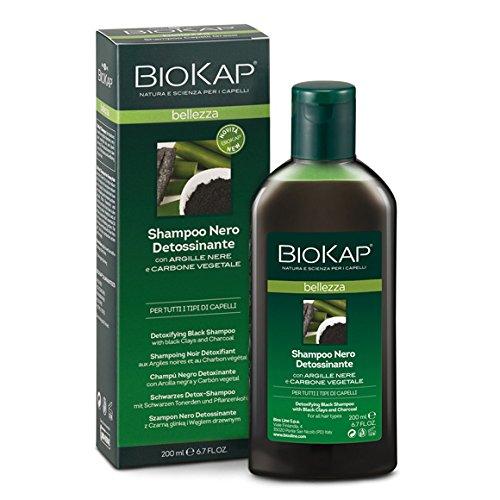 Biokap Shampoo Nero Detossinante 200 ml con Carbone Vegetale e Argille Nere Purificante Allevia Prurito e Arrossamenti