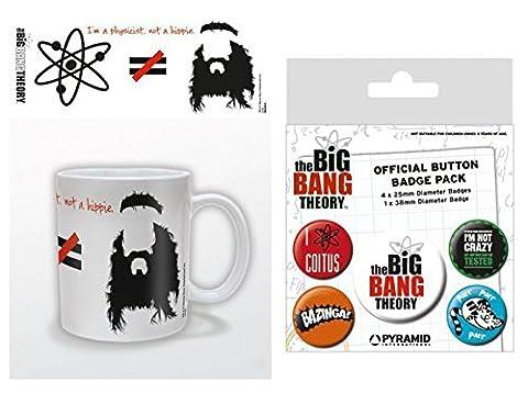 Set: The Big Bang Theory, Je Suis Physicien Pas Hippie, Équasion Tasse À Café Mug (9x8 cm) Et 1 The Big Bang Theory, Paquet De Badges (15x10 cm)