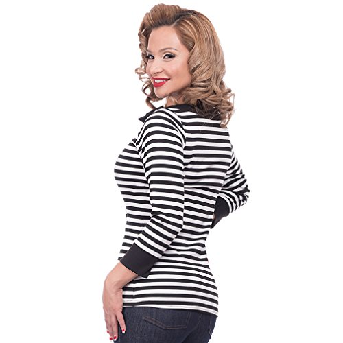 Steady Clothing Damen Retro Bluse mit Schleife - Striped Boatneck Rockabilly Oberteil 3/4 Arm Schwarz M -