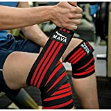 Mava Sports Knee Wraps (Pair) for Cross Training WODs,Gym Workout,Weightlifting,Fitness & Powerlifting – Knee Straps for Squats – For Men & Women- 72″-Compression & Elastic Support - 4