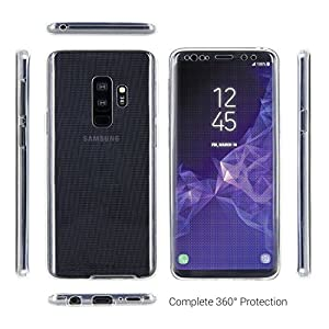 Xelcoy® 360 Degree Soft Silicone Full Body Protection Front & Back Slim Hybrid Case Cover Protector for Samsung Galaxy S9 Plus - Transparent