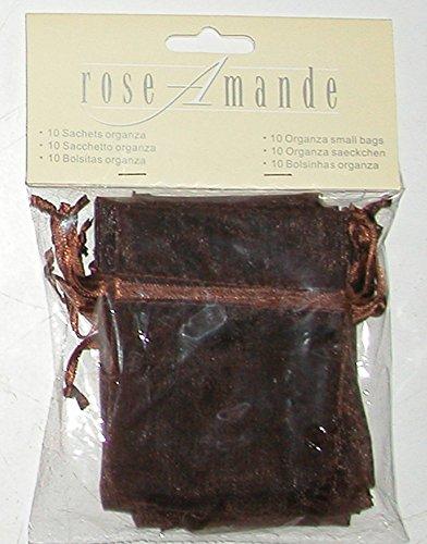 Confezione 10 sacchetti porta confetti di tulle color marrone con nastro in raso. misure 10x8