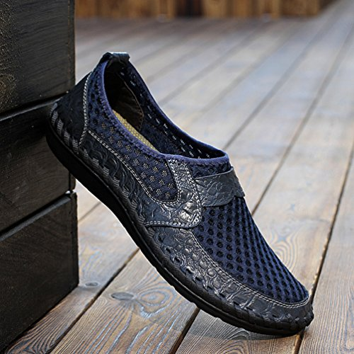YiLianDa Herren Sommer Atmungsaktiv Mesh Hausschuhe Outdoor Slippers Blau