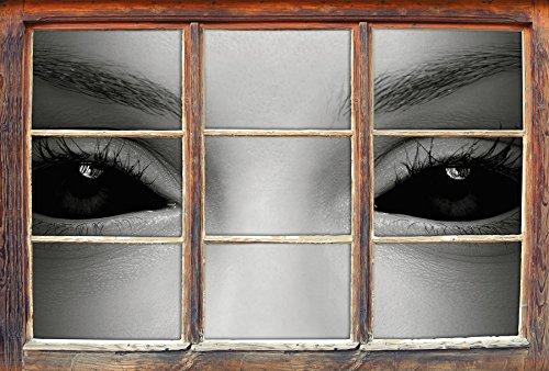 Böse Dämonenaugen B&W Detail Fenster im 3D-Look, Wand- oder Türaufkleber Format: 92x62cm, Wandsticker, Wandtattoo, - Halloween-gemälde Vampir-gesicht