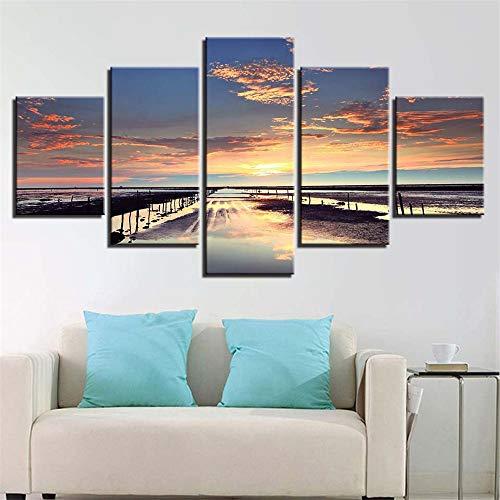 Dekorative Malerei,Wulian Seascape Landschaftsmalerei Hochwertige Frische Home Kinderzimmer Inkjet Bedside Wandmalereien 5 Core 10x15cmx2 10x20cmx2 10x25cmx1 (Schwarz Halloween-gesicht-malerei Und Weiß)