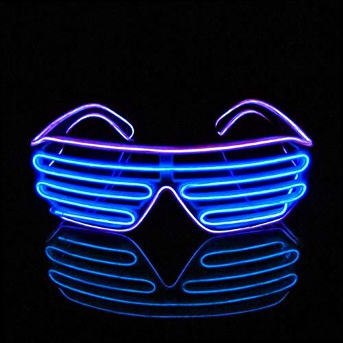 Gshy LED Leuchten Neon Brille für Partys Kostümfeste Diskos Halloween Karneval Maskerade Geburtstage Festivals DJ (Lila) (Lila El Wire)