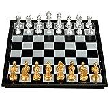 Magnetisches Schachspiel, faltendes Schach-Anfänger-erwachsenes Kind-Goldsilber-Schach-Schach (Farbe : C)