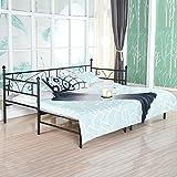 EGGREE Tagesbett Versailles Weiß Metall Single Sofa Optionen für Ausziehbett , Tagesbett mit Unterbett Trundle ,Schwarz