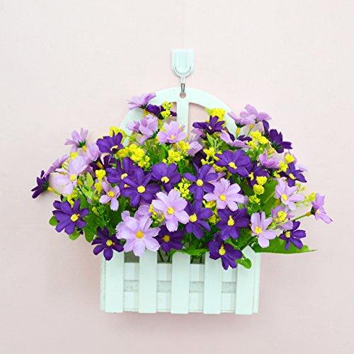 ALLDOLWEGE Personnalisé simple émulation menuiserie plastique en pot en pot pot de fleurs d'émulation en swing léger qui n'decorationThatThe jardin exquis ensemble violet +Hook