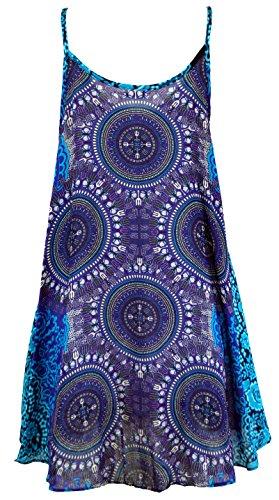 Guru-Shop Boho Dashiki Minikleid, Trägerkleid, Strandkleid, Damen, Flieder/türkis, Synthetisch, Size:38, Kurze Kleider Alternative Bekleidung