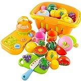 OviTop - Einkaufskorb Kinder - 13er Set Obst und Gemüse zum Schneiden - Rollenspiel - Kinderküchen Spielzeug Zubehör - Frühkindliche Bildung