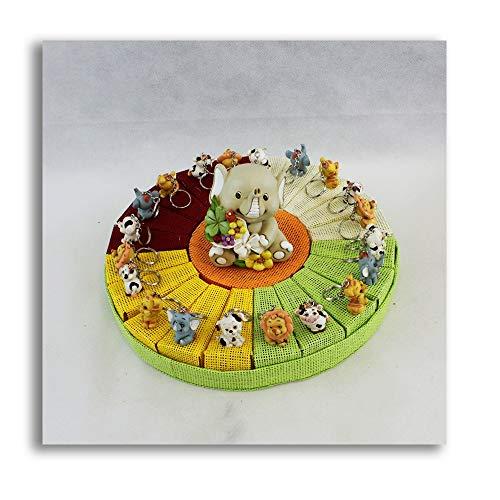 DLM27888 Bomboniere a Torta Colorato Portachiavi Animaletti e Salvadanaio Nascita Compleanno Confettata bomboniera