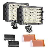 Neewer 2pz Pannello Luce 216 LED Dimmerabile con 4 Filtri Colorati Bianco & Arancione per Reflex Digitali & Videocamere Canon, Nikon, Pentax, Panasonic, Sony, Samsung & Olympus ecc.
