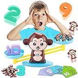 MEckily Montessori Mathe Waage Spielzeug, Zählen und Rechnen, Cartoon AFFE Balance Spielzeug Lernspielzeug mit Waage und Zubehör für Kinder ab 3 Jahhre Alt