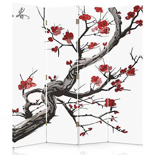 Feeby Frames Biombo impreso sobre lona, tabique decorativo para habitaciones, a doble cara, de 4 piezas (145x180 cm), CEREZO JAPONÉS, BLANCO, ROJO, NEGRO