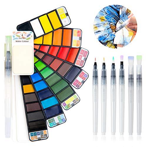 Fuumuui Set di Colori ad acquerelli 42 Colori con 6 Pezzi Set di pennelli a Penna ad Acquerello, Set da Viaggio Professionale da Taschino per Pittura, Set di acquerelli Solidi Portatili.