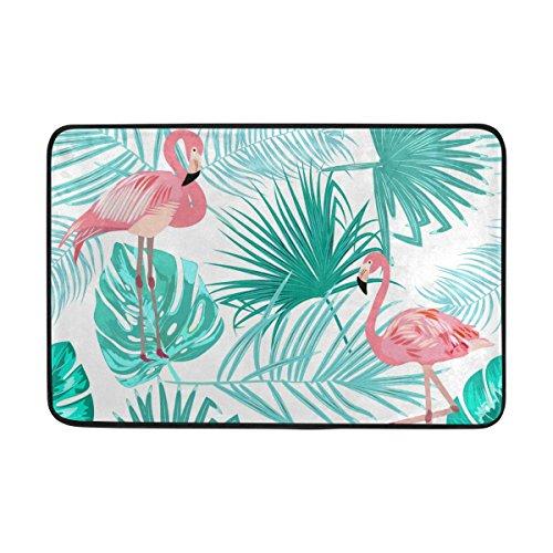 FFY Go Badteppich, Blatt mit Flamingo Print rutschfeste Antischimmel-Einfach Dry Fußmatte Teppich für Dusche Raum Badezimmer Tür Indoor Outdoor 58,4x 38,1cm (Sie Blättern Indoor-outdoor-teppich)