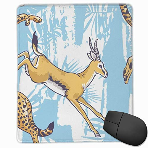 Leopard Cheetah Rectangle Non-Slip Rubber Mouse Pad with Stitched Edges -