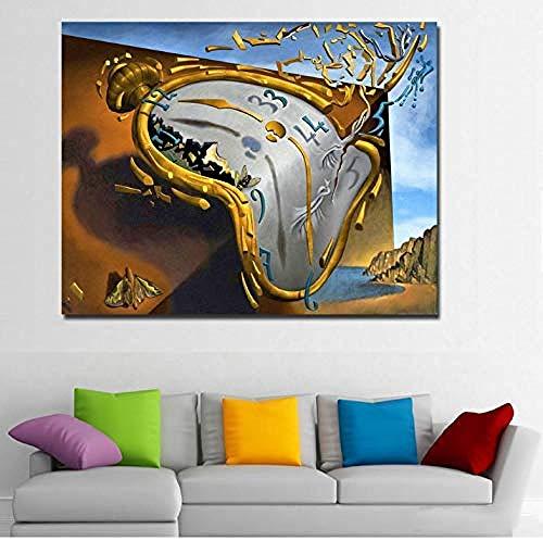 XQWZM Wandkunst Bild Poster, Postmoderne Abstrakte Kunst Uhr Von Salvador Dali Leinwand Gedruckt Kunst Malerei Wandbilder, Für Wohnzimmer Decor 40 * 50 cm