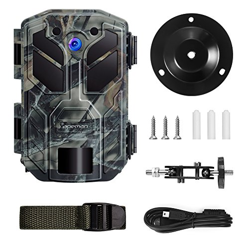 Our Best Pick For wildlife trial camera - APEMAN Wildlife Trail Camera Trap 20MP 1080P with Infrared Night Vision up to 65ft/20m IP66 Spray Waterproof for Outdoor Nature, Garden, Home Security Surveillance. 20MP camera, day and night sensor, IP66 ratingultra fast trigger 0.2 seconds