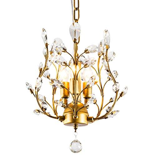 Garwarm Kronleuchter mit Kristallen, LED Deckenleuchte, für Wohnzimmer Schlafzimmer Restaurant, Veranda, schwarz Antik 3head Gold - Antiken Gold-licht-kit