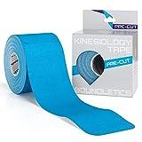 Kinesio Taping Pre Cut - Ideale per gomito, ginocchio, spalla, polso, mani, dita - Il nastro per fitness, Crossfit, calisthenics e physio - 25cm x 5cm - 20 cerotti - GRATIS manuale d'istruzioni (Blu)