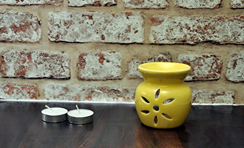 FnP Handcrafted Aroma Diffuser with Tealight Candle (9x8, Yellow)
