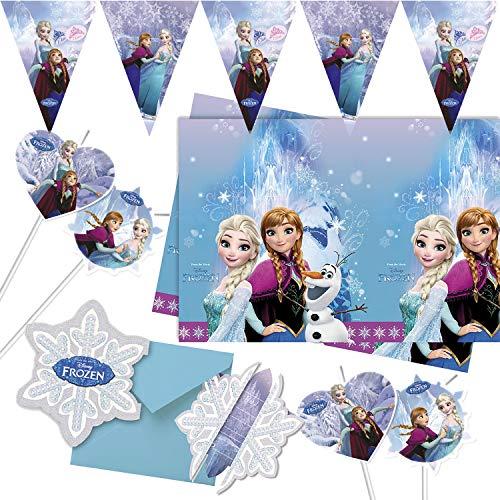 Procos/Carpeta 57-TLG. Party-Set * Frozen Ice Skating * mit Einladungen + Tischdecke + Deko | Kinder Kindergeburtstag Motto Disney Anna ELSA Eiskönigin Olaf Ballons