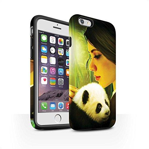 Officiel Elena Dudina Coque / Matte Robuste Antichoc Etui pour Apple iPhone 6S / Jacinthe Design / Les Animaux Collection Petit Panda/Bambou