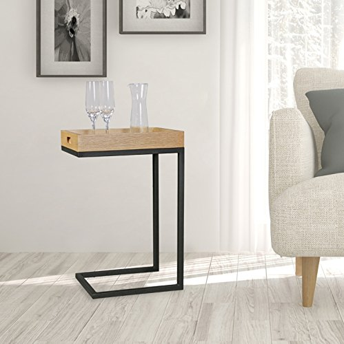 FineBuy Design Sofa Beistelltisch SCANIO TV-Tray rechteckig - Sofatisch mit schwarzem Metallgestell