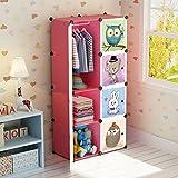 Koossy Erweiterbares Kinderregal Kinder Kleiderschrank mit Waldtiere für Kinderzimmer (5Cuebs&1Hanger)