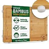 Glorytec XXL Schneidebrett aus Bambus - beidseitig verwendbar - mit Silikonfüßen und extra Breiten Saftrinne - Küchenbrett 40 x 30 x 2cm - klingenschonend und extrem langlebig