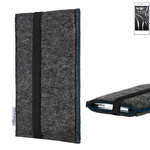 flat.design Handyhülle Lagoa für BQ Readers Aquaris X5 Plus | Farbe: anthrazit/blau | Smartphone-Tasche aus Filz | Handy Schutzhülle| Handytasche Made in Germany